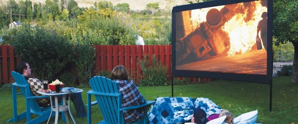 outdoor movie screen and outdoor projectors