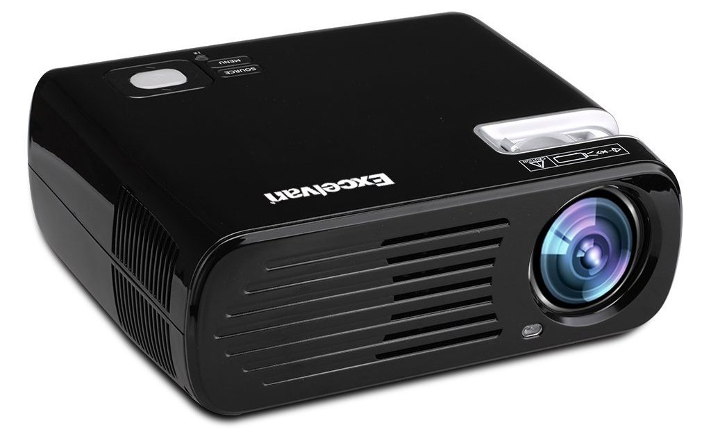 black excelvan projector on a white background