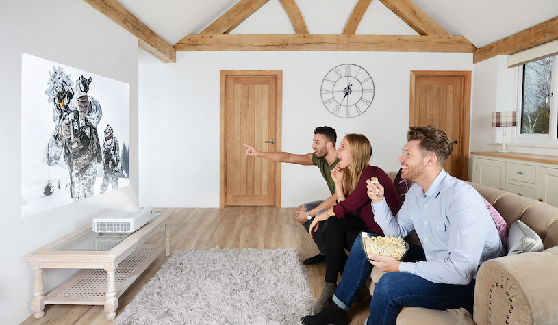 movie viewing in short throw projector