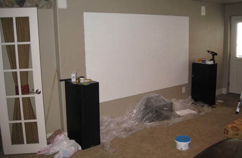 projector screen wall setup
