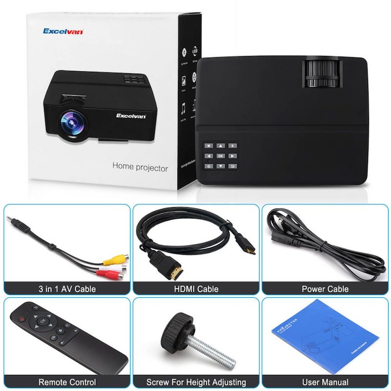 Excelvan E09 Projector package