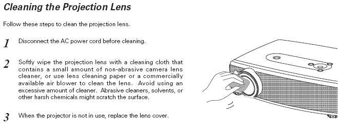 projector cleaning tips