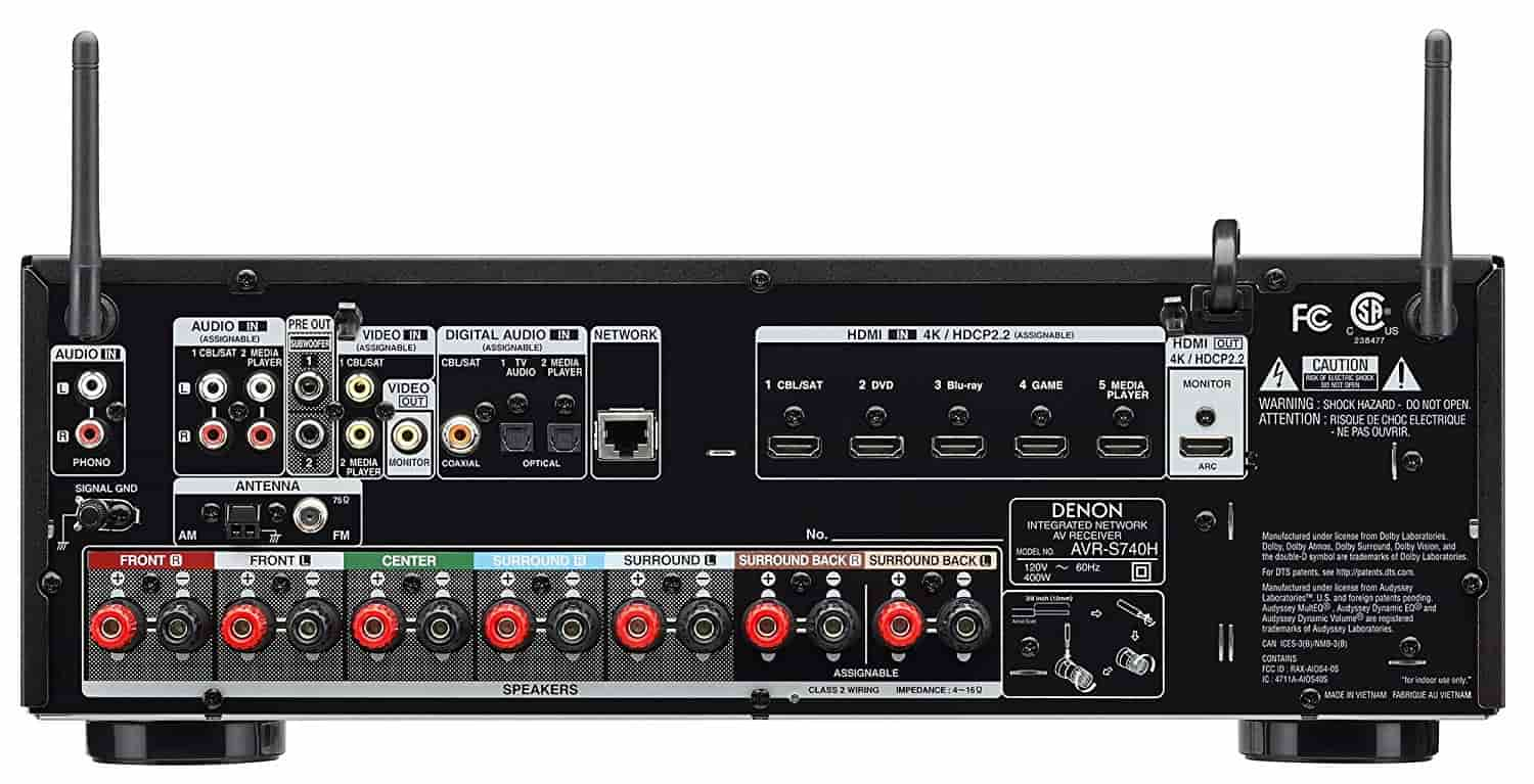 Denon AVR-S740H Receiver Back