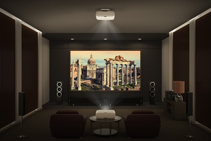 Epson Home Cinema 5040UB Projecting On A Screen