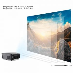 GooDee HD Video Projector projection size