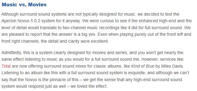 Aperion Audio Novus 5.0.2 music vs movies