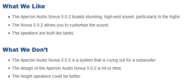 Aperion Audio Novus 5.0.2 pros and cons