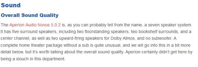 Aperion Audio Novus 5.0.2 sound quality