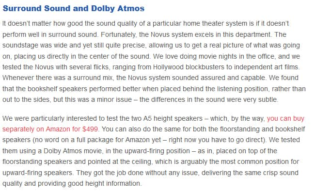 Aperion Audio Novus 5.0.2 surround sound and dolby atmos