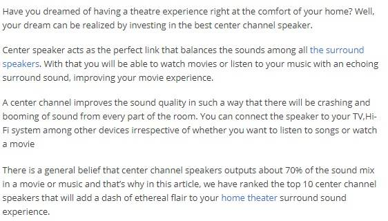 best center channel speakers intro