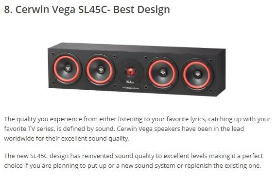 cerwin vega sl45c center channel speaker