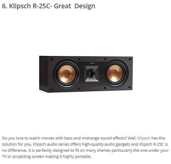 klipsch r 25c center channel speaker