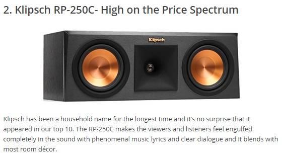 klipsch rp 250c center channel speaker