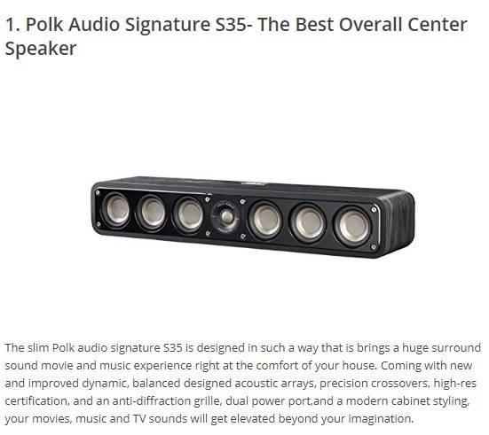 polk audio siganture s35 center channel speaker