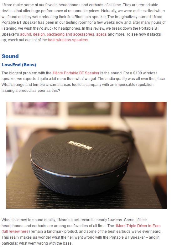 1More Portable BT Speaker Sound low-end