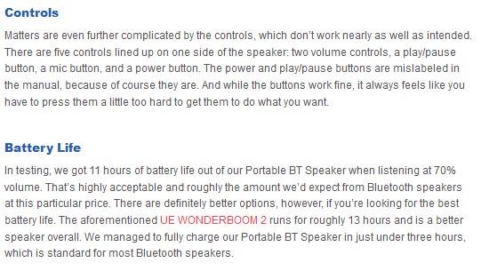 1More Portable BT Speaker controls battery life