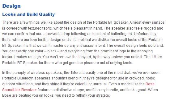 1More Portable BT Speaker design build quality