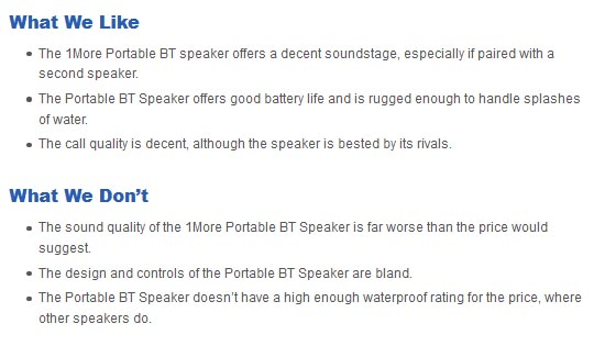 1More Portable BT Speaker pros and cons