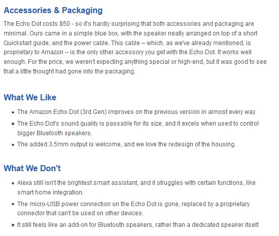 Amazon Echo Dot pros and cons