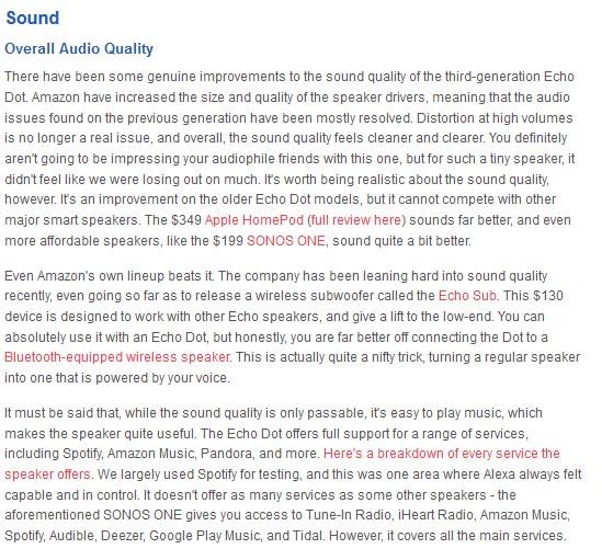 Amazon Echo Dot sound quality
