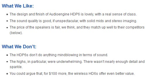 Audioengine HDP6 pros and cons