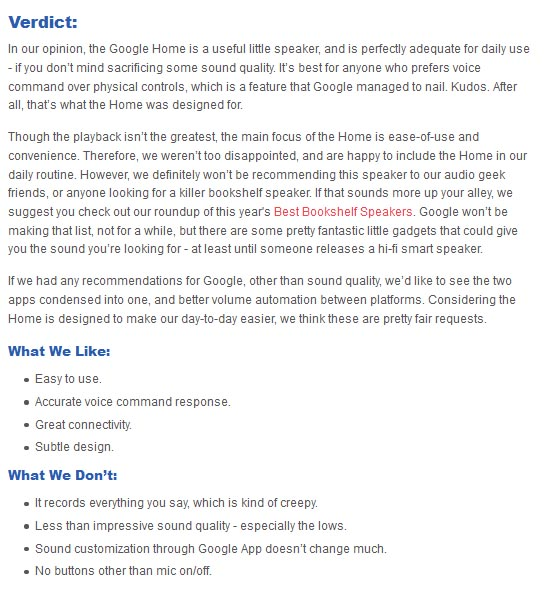 Google Home pros and cons