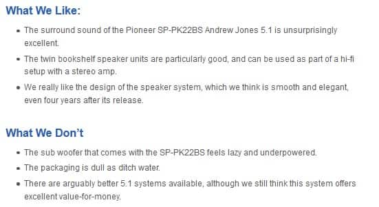 Pioneer SP-PK22BS pros and cons