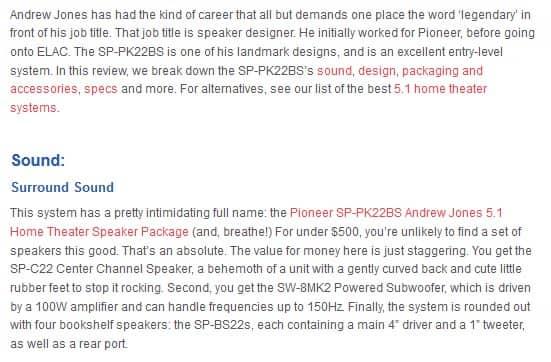 Pioneer SP-PK22BS sound