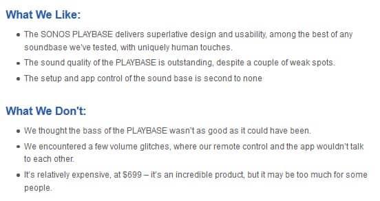 Sonos Playbase pros and cons