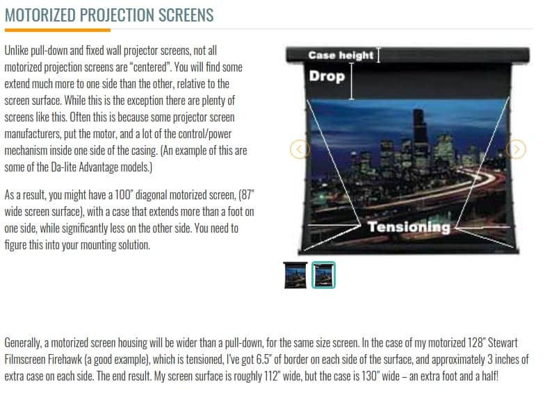 motorized projection screens